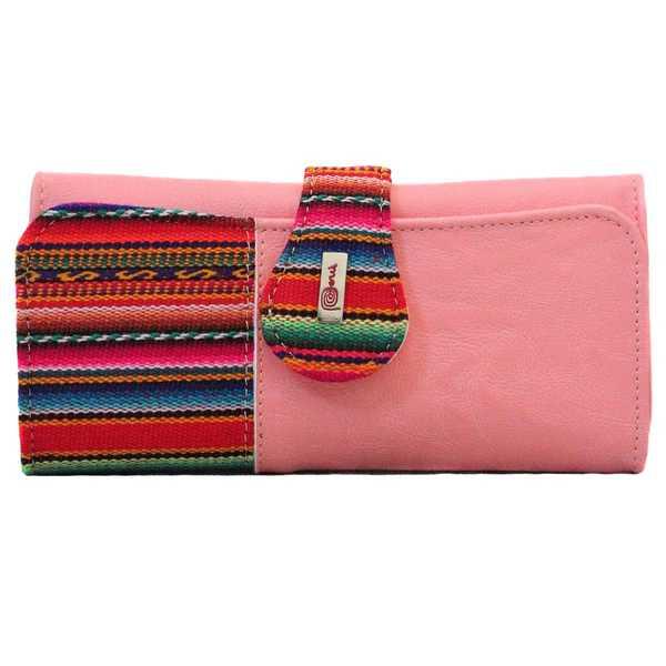 Portefeuille Péruvien SUMAQ Rose Claire Coloré Ethnique - Inka Products