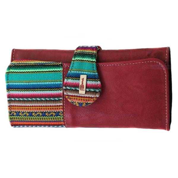 Portefeuille Péruvien UWAS Bordeaux Coloré Ethnique - Inka Products