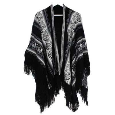 Inka-Products-Poncho Alpaga JAYWAY-Noir Motifs Ethniques
