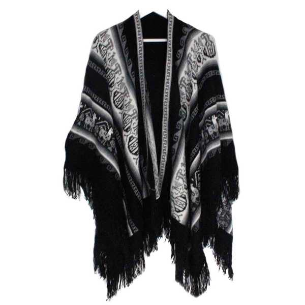 Poncho Alpaga JAYWAY Noir Motifs Ethniques - Inka Products