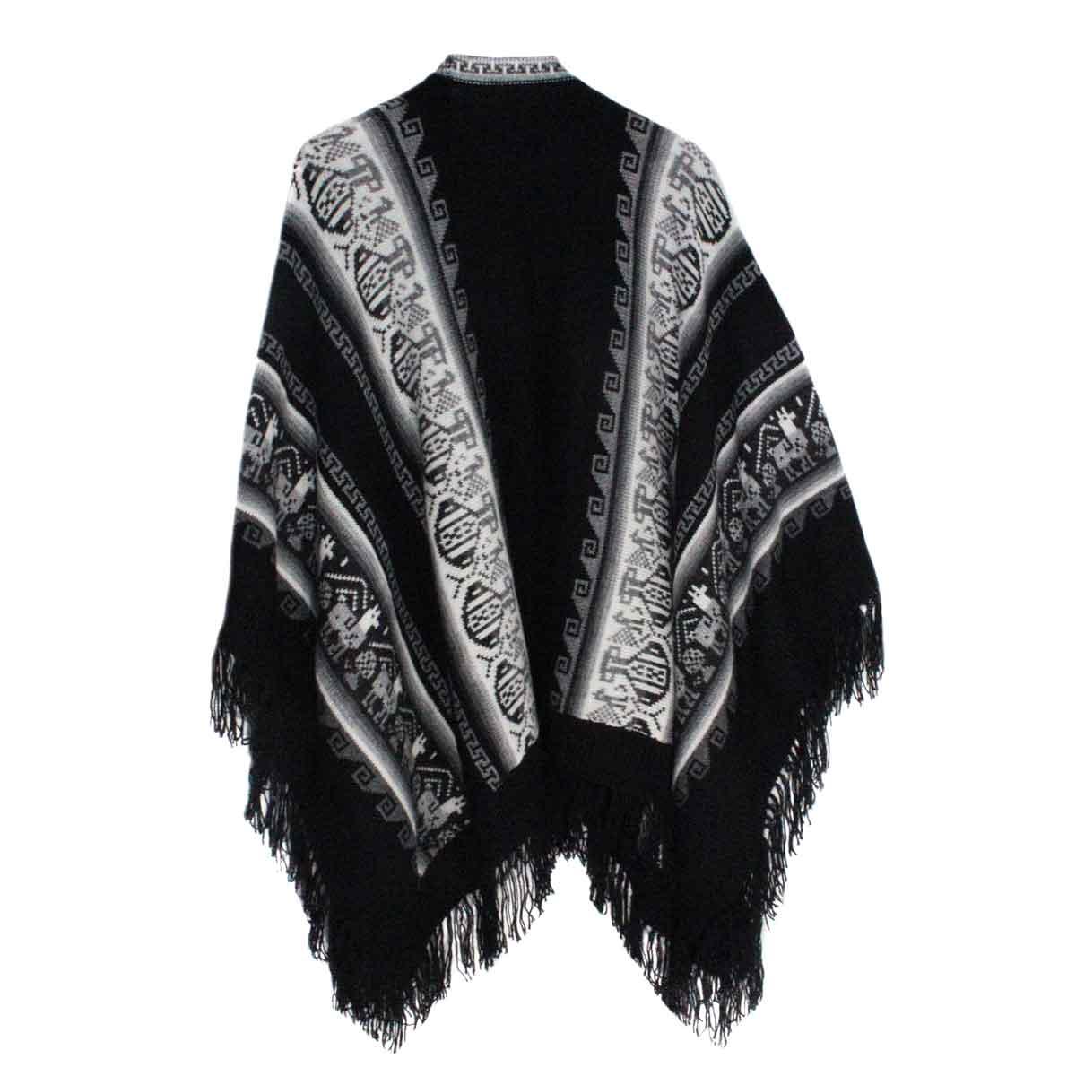 Inka-Products-Poncho Alpaga JAYWAY-Noir Motifs Ethniques-2