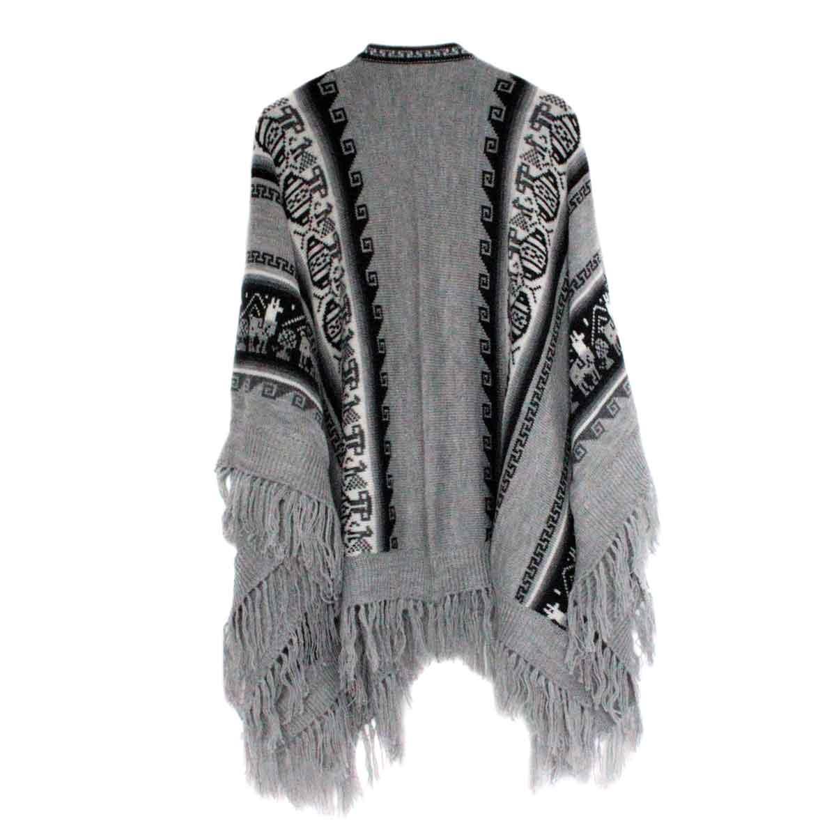 Inka-Products-Poncho Alpaga JAYWAY-Gris Motifs Ethniques-2