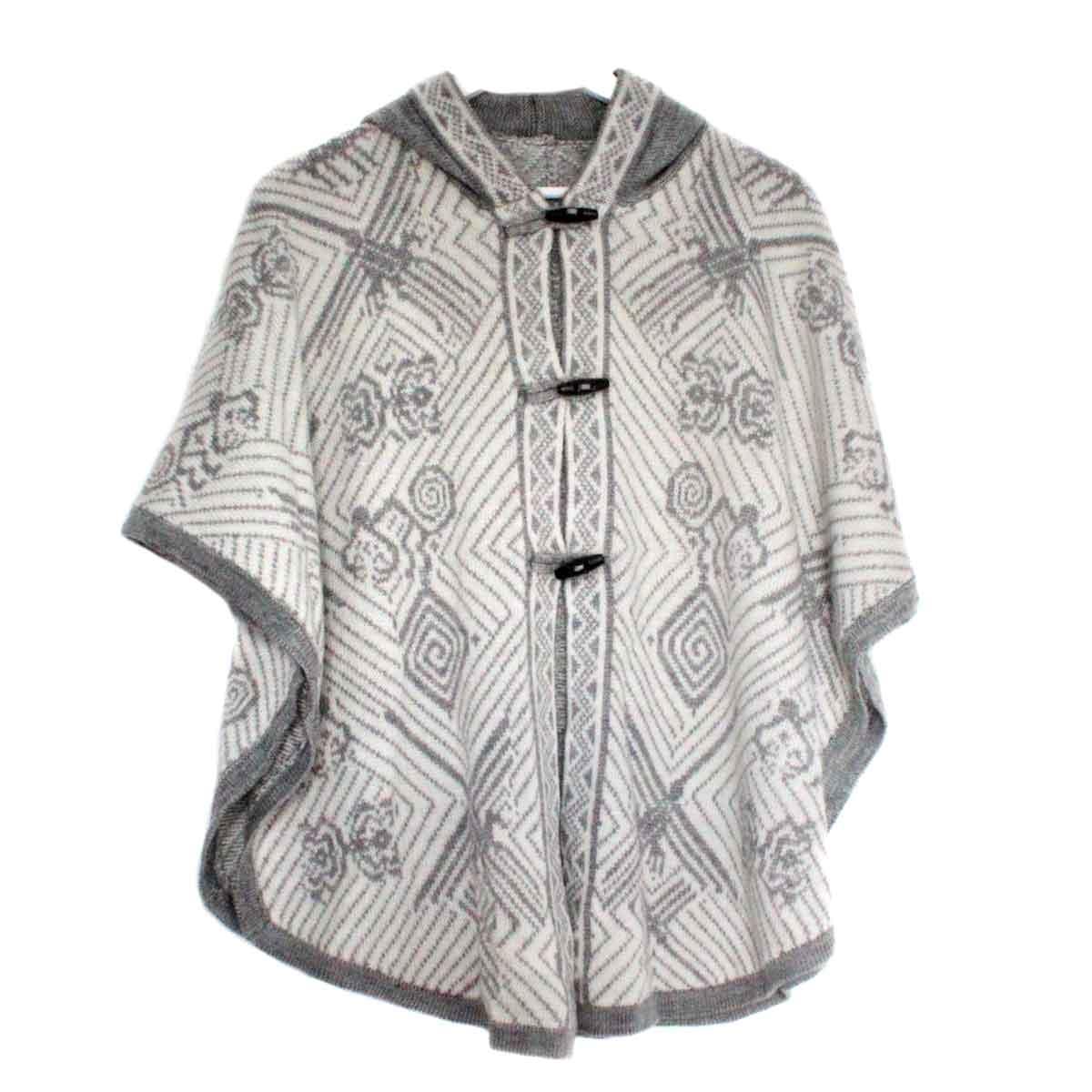 Inka-Products-Cape Alpaga HAPPINA-Blanc Motifs Ethniques