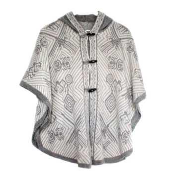 Inka Products Cape Alpaga HAPPINA Blanc Motifs Ethniques