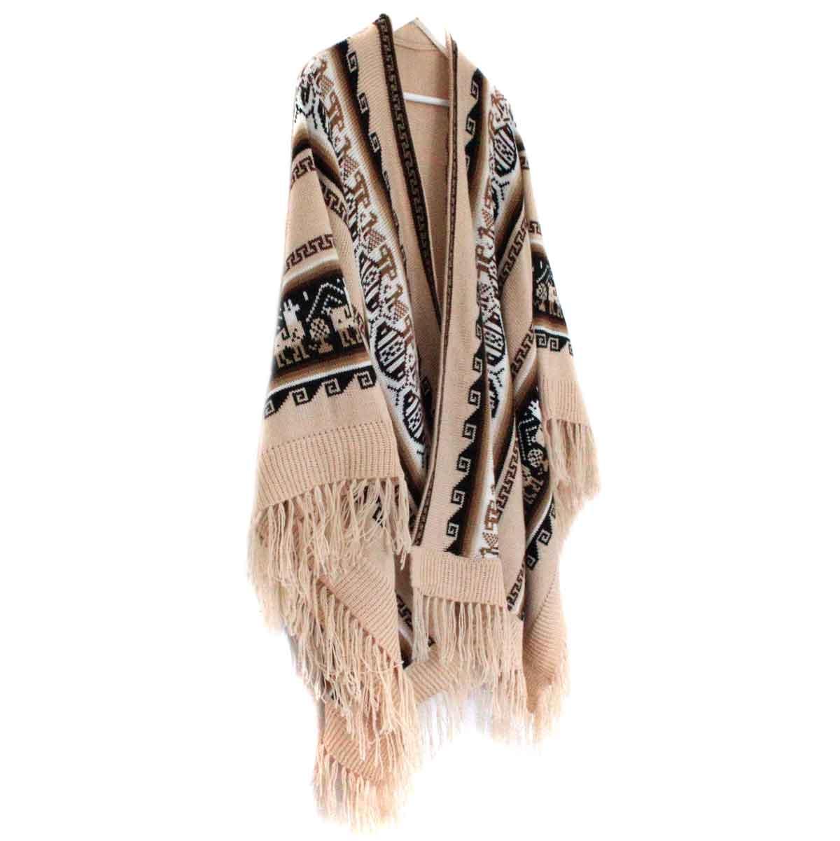 Inka-Products-Poncho Alpaga JAYWAY-Beige Crème Motifs Ethniques-2