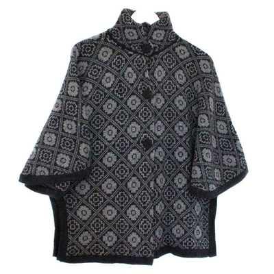 Inka-Products-Cape Alpaga HAPPINA-Gris Foncé Motifs Ethniques