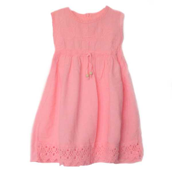 Robe Sans Manches Fille Rose En Coton Broderie Péruvienne - Inka Products