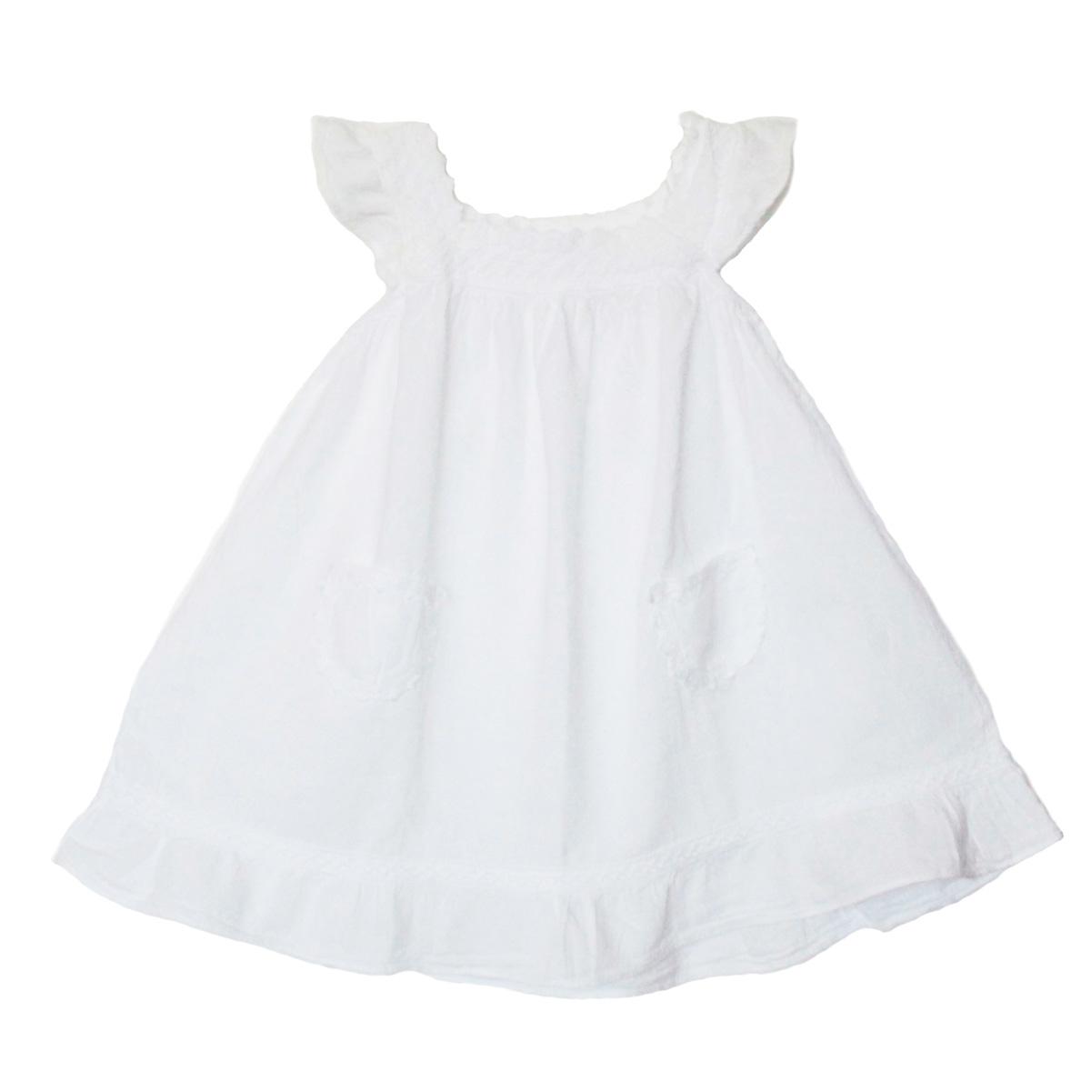 Robe Fille Épaules Dénudées-En Coton Broderie Péruvienne
