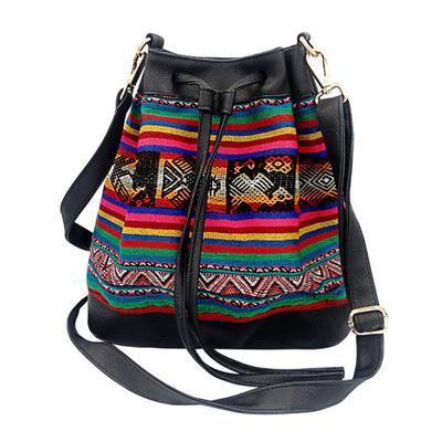 Inka-Products-Sac Seau en Bandoulière pour Femme-Tissu Traditionnel Amazonie Péruvienne