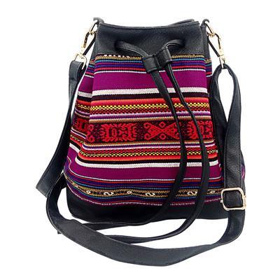 Inka-Products-Sac Seau en Bandoulière pour Femme-Tissu Traditionnel Péruvien Vitelotte