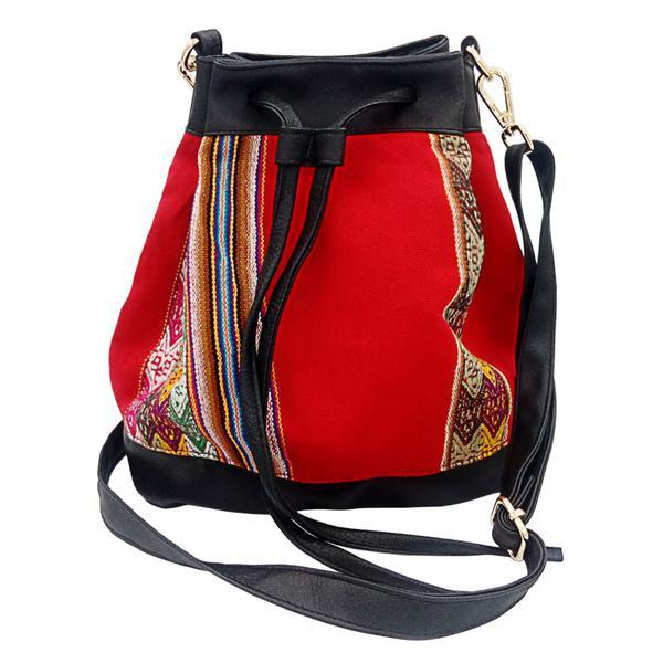 Sac Seau en Bandoulière pour Femme Tissu Traditionnel Péruvien BLAQUIROJA - Inka Products
