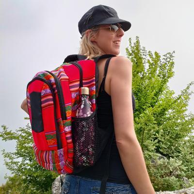 Inka-Products-Sac à dos Aventura-Tissu Traditionnel Blanquirroja