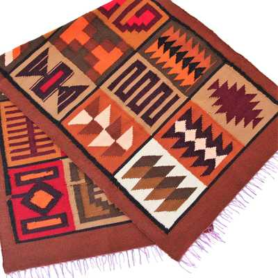 Inka-Products-Tapis Empire Inca-Marron Motifs Ethniques