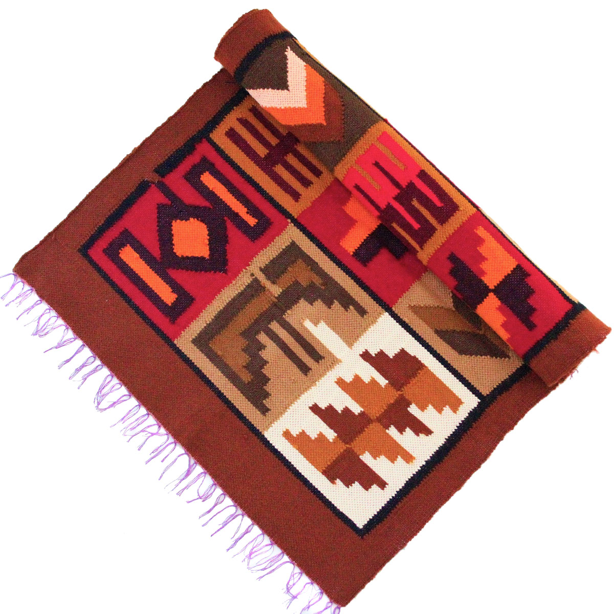 Inka-Products-Tapis Empire Inca-Marron Motifs Ethniques-2