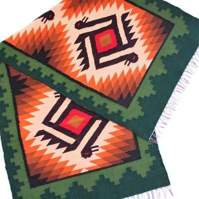 Inka-Products-Tapis Empire Inca-Vert motifs ethniques